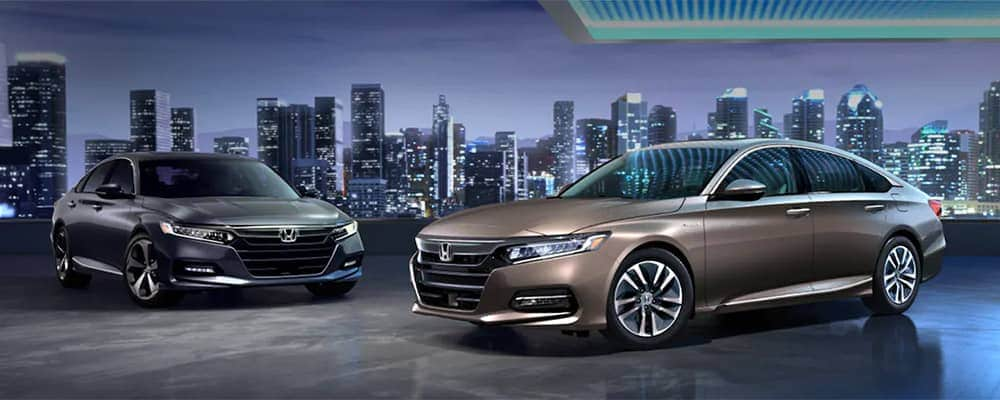 2019 Honda Accord models shown in Modern Steel Gray and Champagne Beige