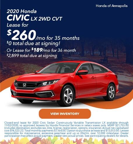 2020 Honda Civic LX 2WD CVT