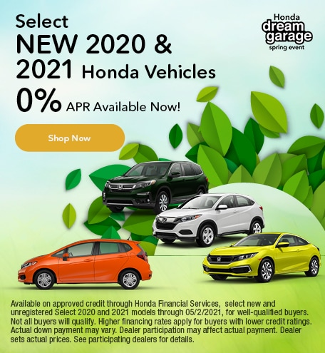 Select New 2020 & 2021 Honda Vehicles