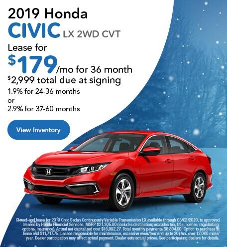 2019 Honda Civic LX 2WD CVT