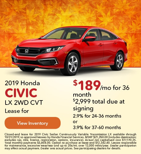 September 2019 Honda Civic LX 2WD CVT