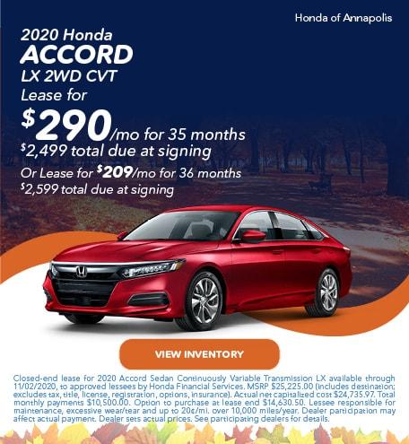 2020 Honda Accord LX 2WD CVT
