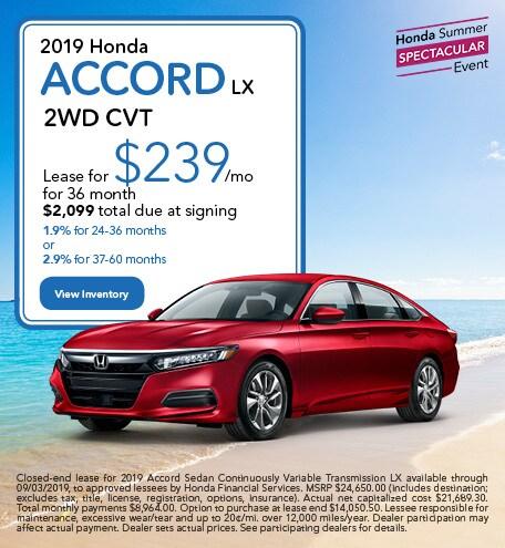 July 2019 Honda Accord LX 2WD CVT
