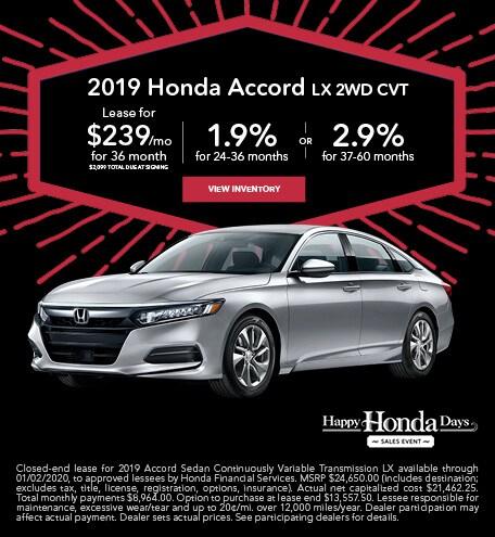 November 2019 Honda Accord LX 2WD CVT
