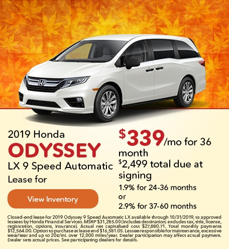 September 2019 Honda Odyssey LX 9 Speed Automatic