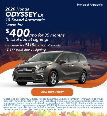 2020 Honda Odyssey EX 10 Speed Automatic
