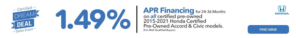 1.49% APR Certified Dream Deal Sales Event