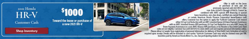 2021 Honda HR-V Customer Cash