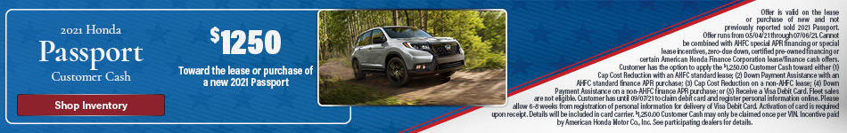 2021 Honda Passport Customer Cash