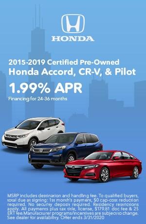 February | 2015-2019 CPO Accord, CR-V, Pilot | Finance Special