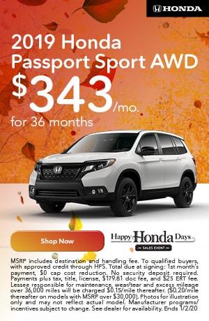 November | 2019 | Honda Sport | Lease