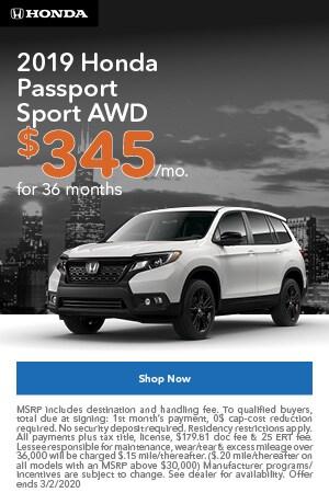 January | 2019 Honda Passport Sport | Lease