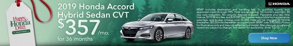 December | 2019 | Honda Accord Hybrid Sedan | Lease