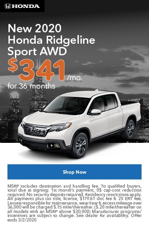 January | 2020 Honda Ridgeline Sport | Lease
