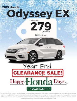 Lease 2019 Odyssey EX for $279/Month