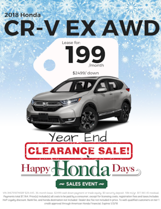Lease 2018 CR-V EX AWD for $199/Month