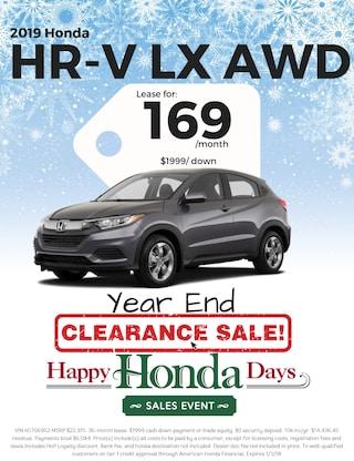 Lease 2019 HR-V LX AWD Sedan for $169/Month