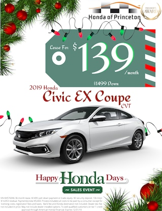 Lease new Civic Coupe for just $139/month