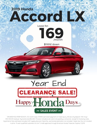 Lease 2019 Accord LX for $169/Month