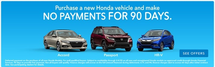 No Payments For 90 Days On Any New Honda