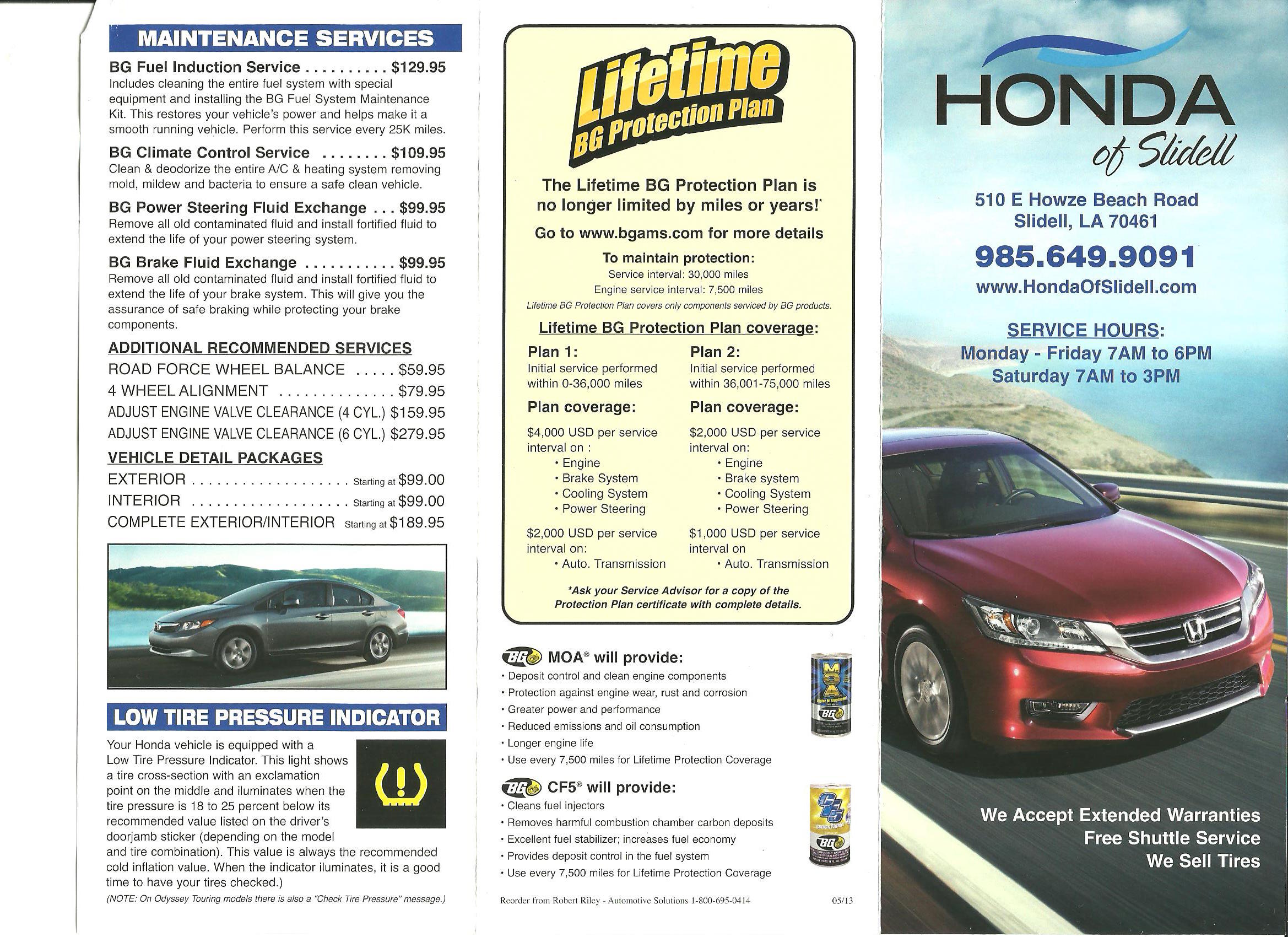 New Orleans Area Honda Service Menu