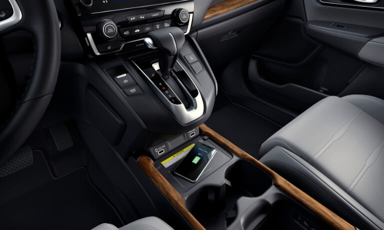 2020 Honda CR-V interior showing touch screen and cordless charging