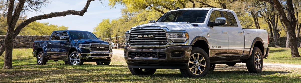 New Ram Truck lineup under the trees
