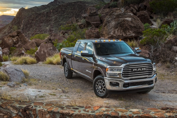 New Ram 2500 on a rocky cliff