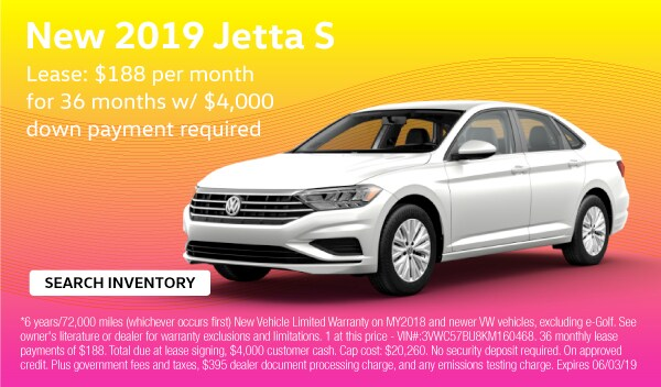 2019 Jetta S. Lease: $188 per month for 36 months with $4,000 down payment required.