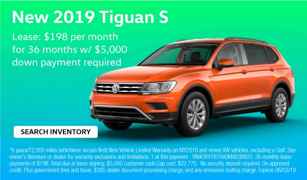 2019 Tiguan S. Lease: $198 per month for 36 months with $5,000 down payment required.