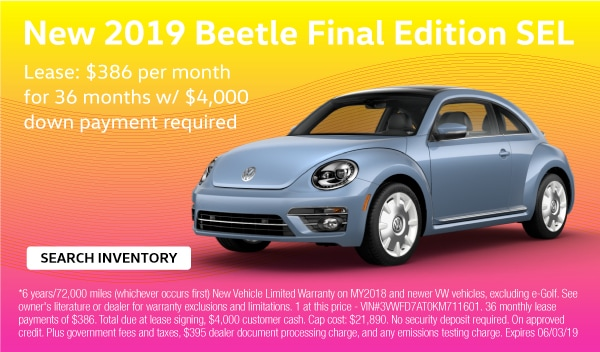 2019 Beetle Final Edition SEL. Lease: $386 per month for 36 months with $4,000 down payment required.