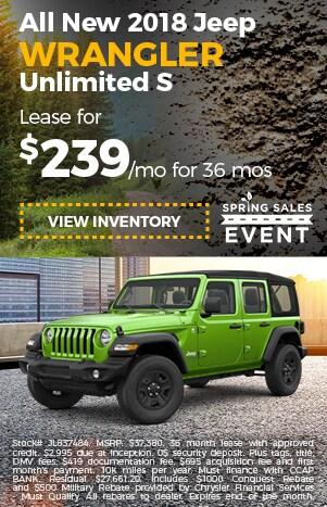 2018 Jeep Wrangler JK lease offer