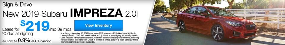 Sign & Drive New 2019 Subaru Impreza 2.0i