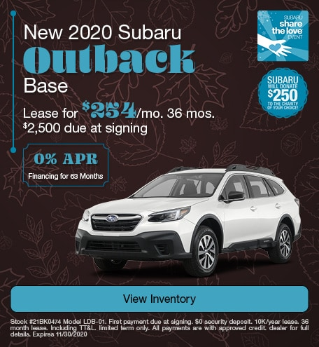 New 2020 Subaru Outback Base