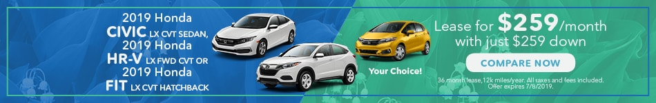 May 2019 Honda Civic, HR-V, Fit Lease Options