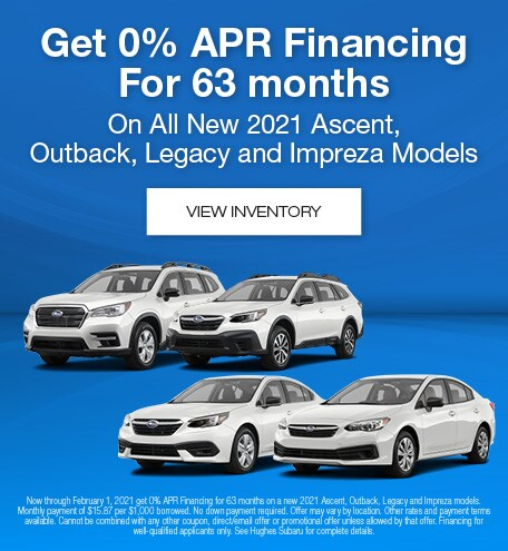 0% APR On New 2021 Subaru Ascent, Outback, Legacy & Impreza Models