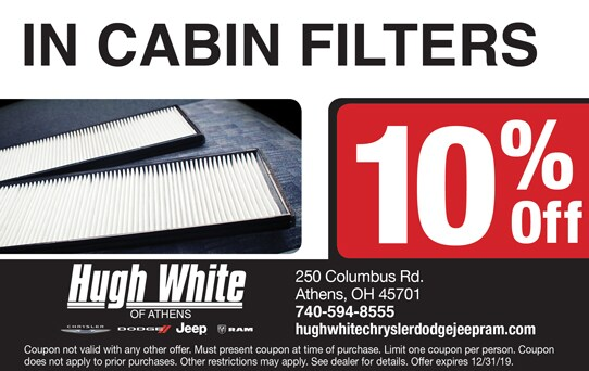 10% Off In-Cabin Filters