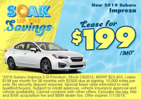 0.9% APR Financing on all new 2019 Impreza Models