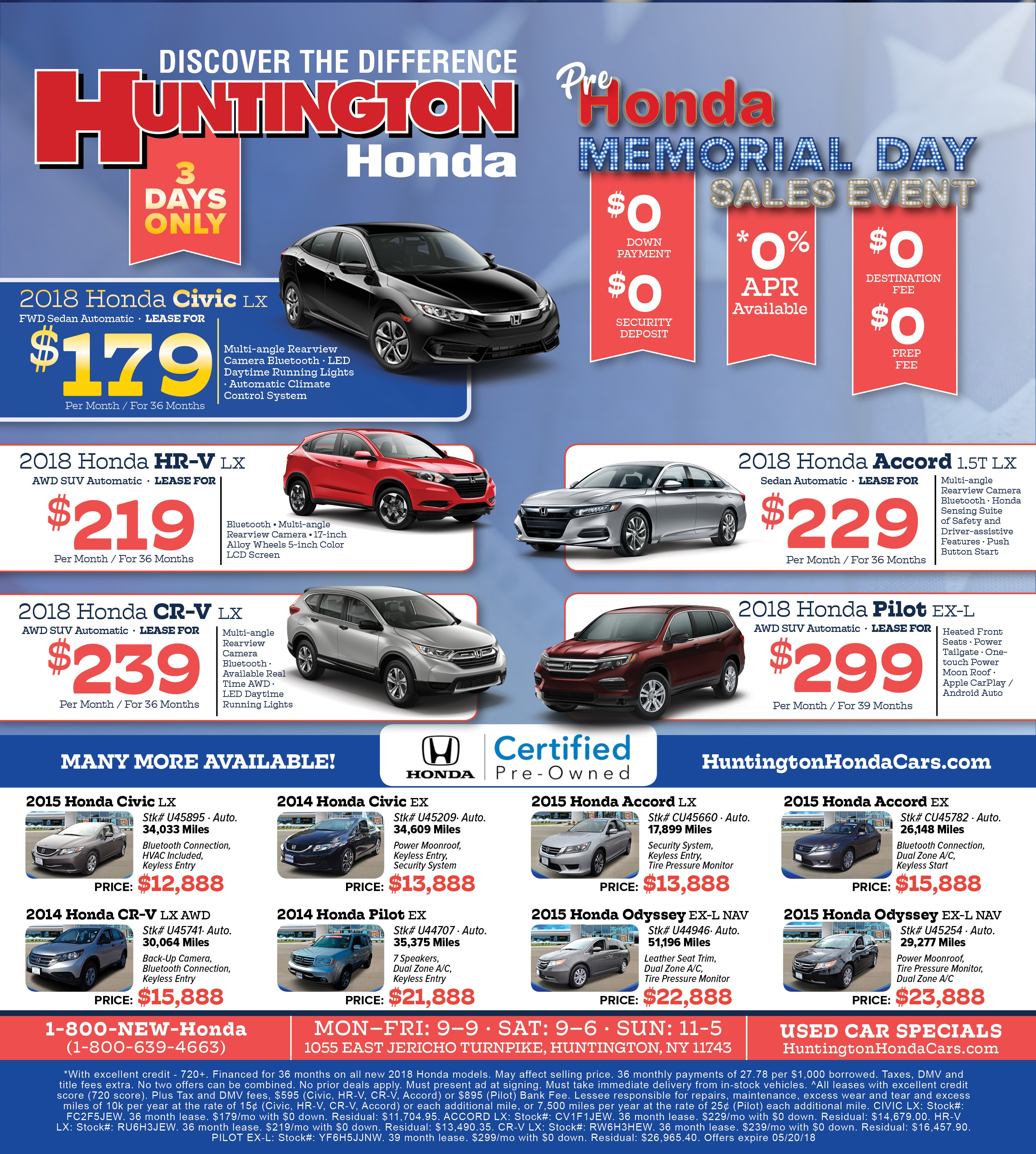 Honda Long Island >> Honda Lease Specials Huntington Honda Serving Long  Island