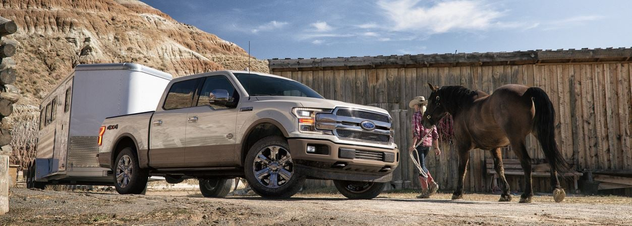 New Ford F-150 towing horses