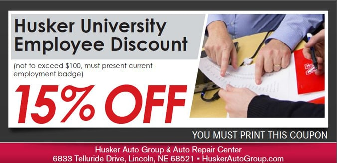 University Employee Discount Service Special, Lincoln, NE Automotive Service Coupon. If no image displays, the offer has ended.