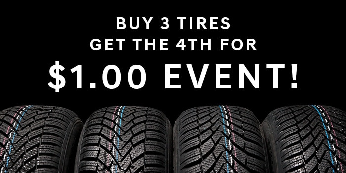 Buy 3 Tires Get the 4th For $1.00 Event!
