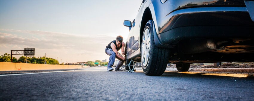 fixing a flat tire