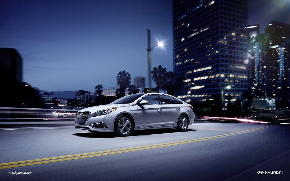 2017 Hyundai Sonata Plug-in driving at night in the city