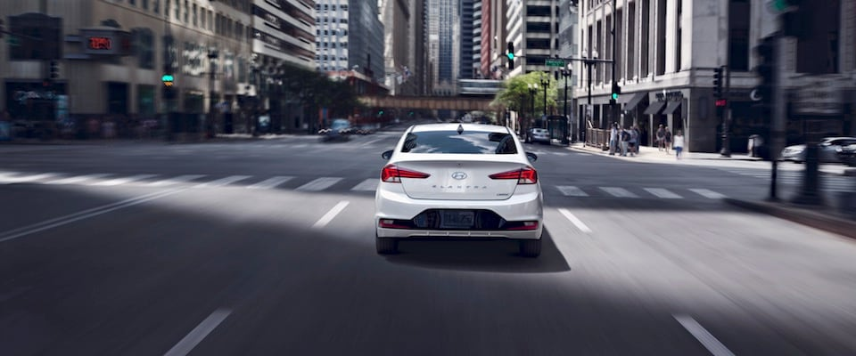 White exterior shot of a 2019 Hyundai Elantra