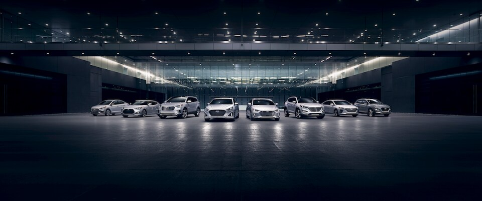 The Hyundai Model Lineup in the dark