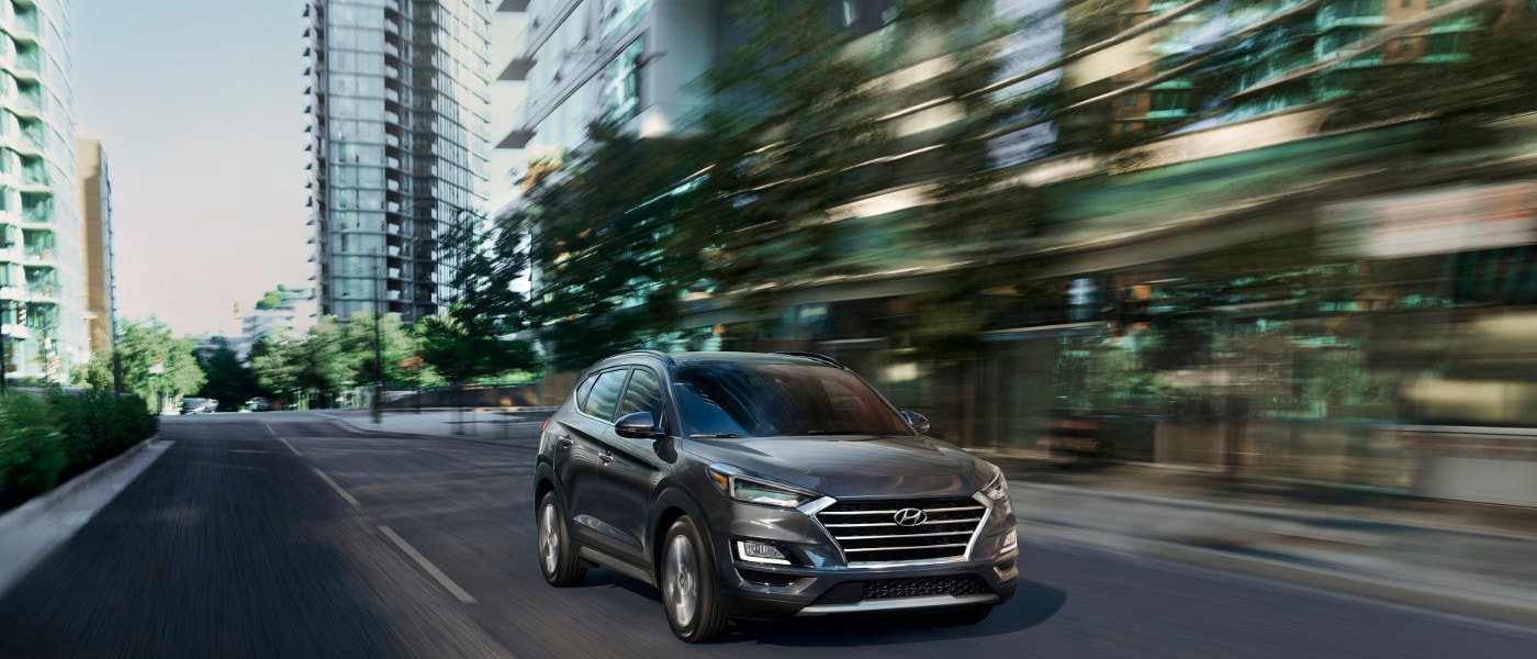 Grey 2020 Hyundai Tucson on road