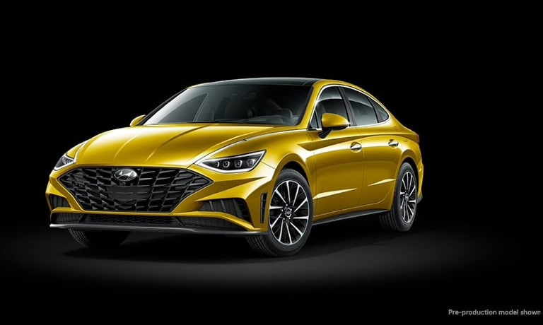 2020 Hyundai Sonata glowing yellow