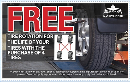 Free Tire Rotation for the life of tires with purchase of 4 tires | Jefferson City, MO