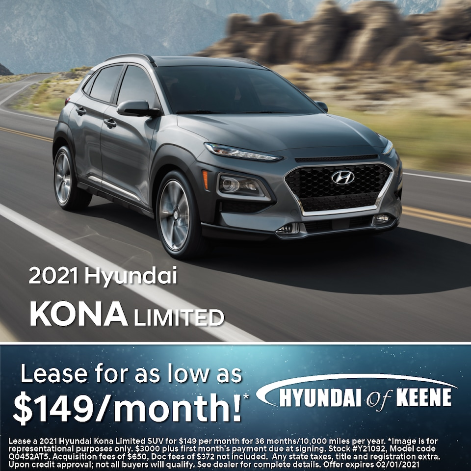 Lease a '21 Kona Limited as low as $149/mo!*
